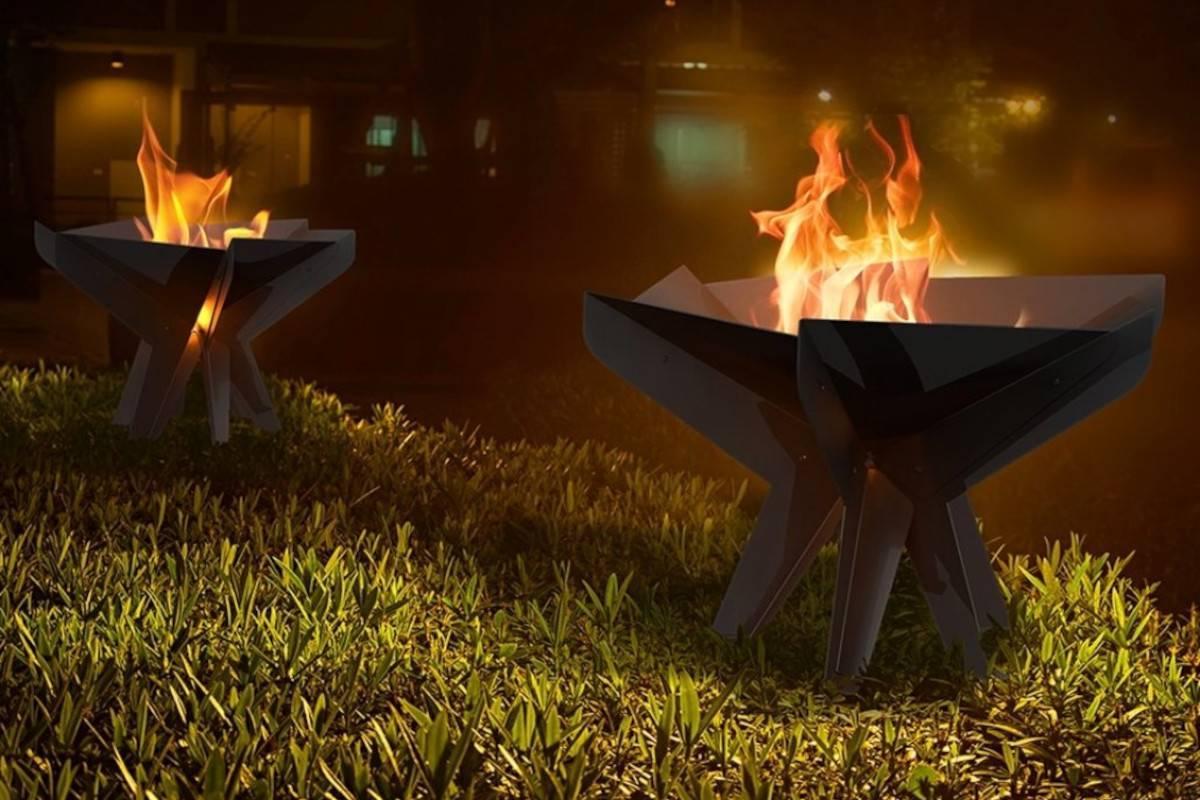 braciere barbecue in acciaio nero da giardino hex