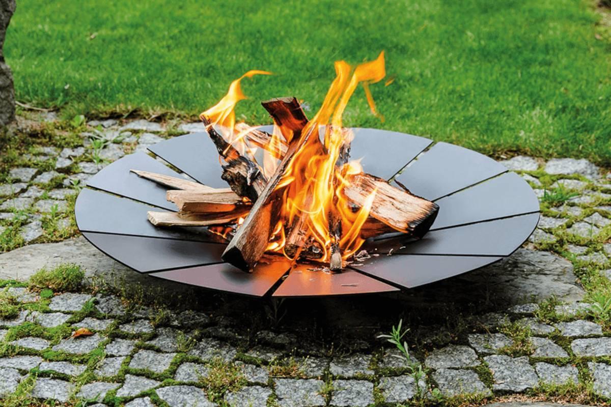 braciere barbecue in acciaio nero da giardino sunny