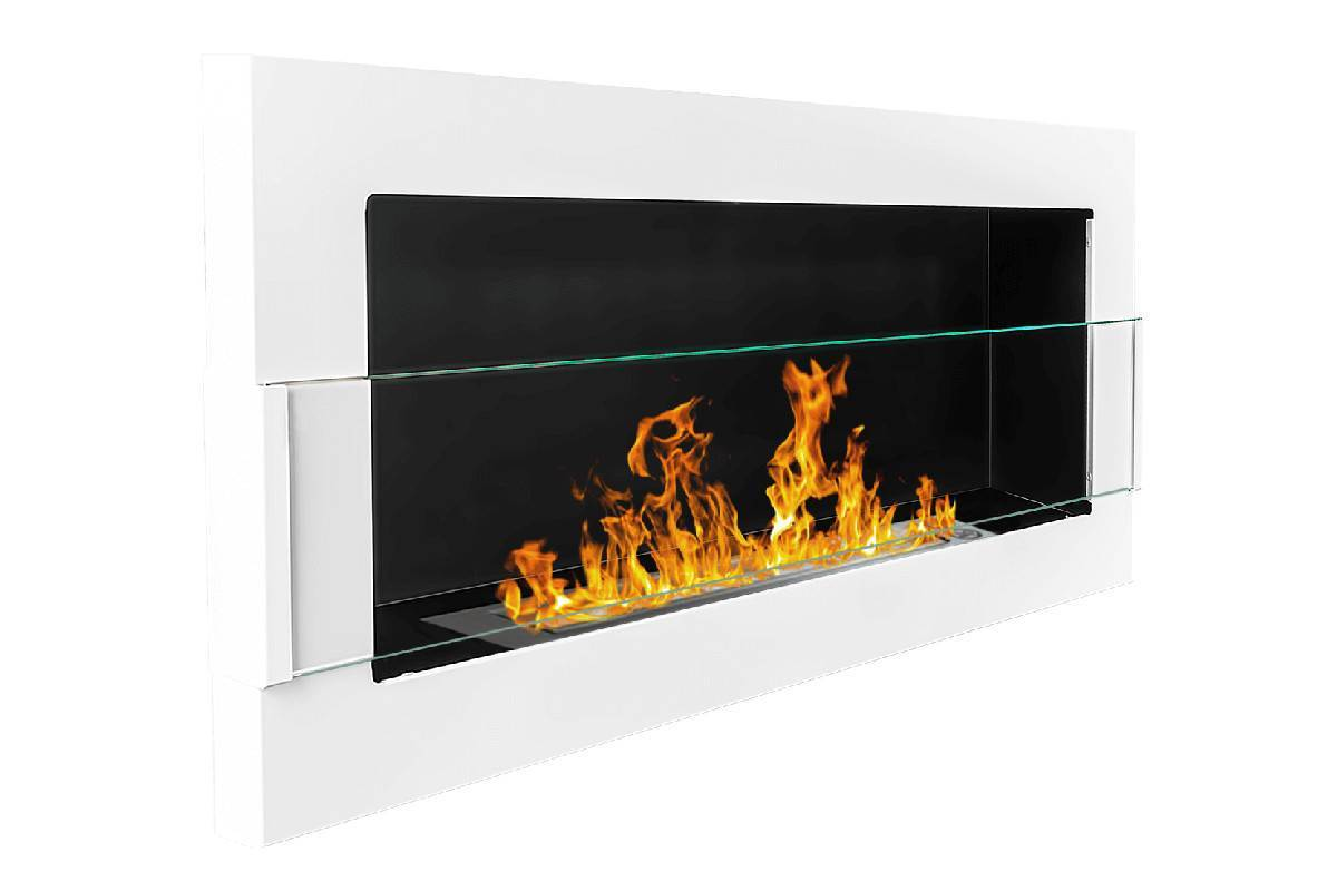 camino bioetanolo da parete bianco lucido vetro