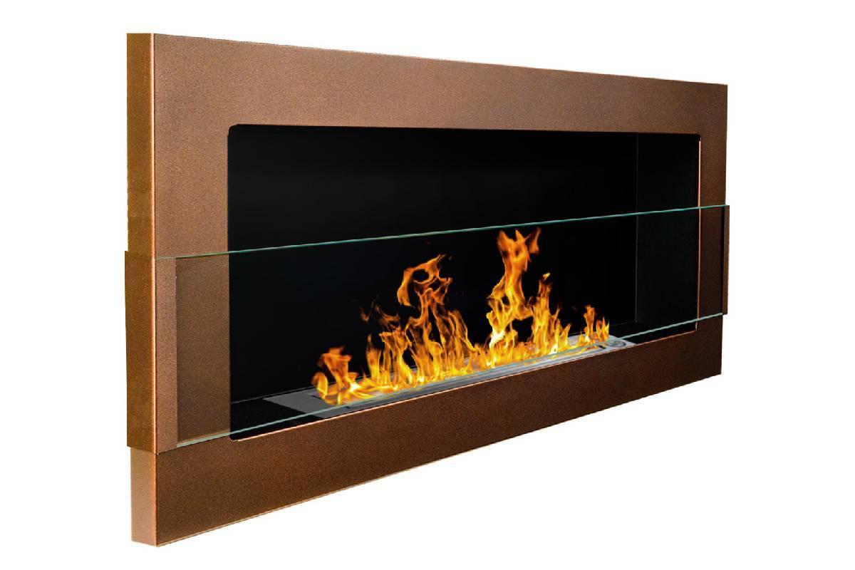 camino bioetanolo marrone bronzo con vetro